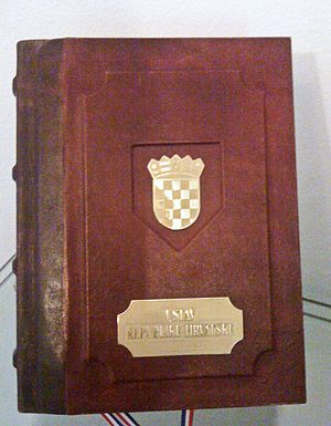 "Constitution of Croatia - ""Constitution no. 1"", which is kept in the great hall of the Palace of the Constitutional Court and is used on the occasion of the presidential inauguration"