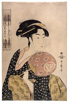 Illustration of a young Japanese woman in a kimono carrying a hand fan, looking behind herself