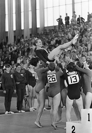 Věra Čáslavská - Čáslavská and the Czech team at the 1967 European Championships