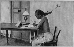 Test anxiety - A student of the University of Madras, with his hair tied to a nail in the wall, to prevent him from falling asleep (1905)