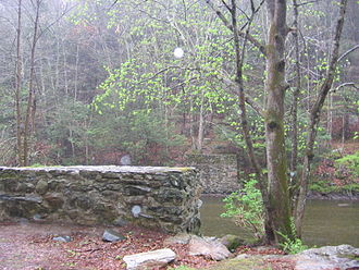 Shepaug River - The river flows past the remains of a pedestrian bridge used by visitors to Holiday House from the Shepaug Railroad in the 1900s.  Photo taken April 22, 2012.