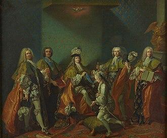 Jean-Baptiste van Loo - Image: Van Loo Louis XV remettant le cordon de l'ordre du Saint Esprit au comte de Clermont dans la chapelle de Versailles, 3 juin 1724