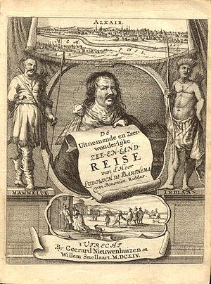 Ludovico di Varthema - Dutch title page of Varthema's book Itinerario, 1654