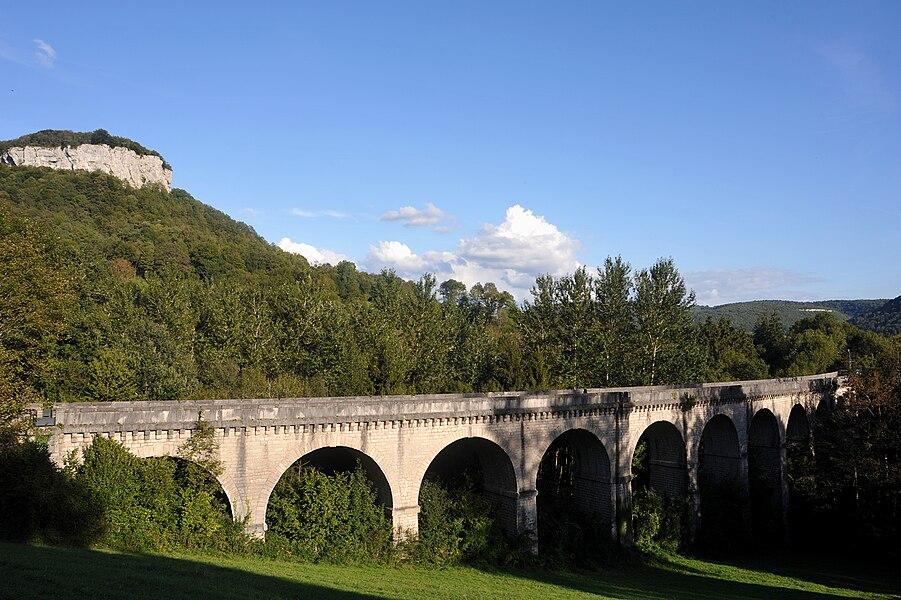 Viaduc de Maisières-Notre-Dame, former railway viaduct over the Brême near Ornans; Doubs, France.