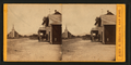 View of a road, church and three men standing on in front of a building, California, by Heering, J. H. (John H.), 1815-1873.png