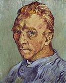 A portrait of Vincent van Gogh from the left (good ear), with no beard.