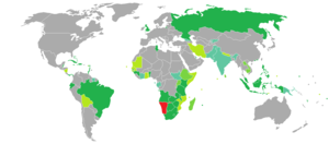 Namibian passport - Image: Visa requirements for Namibian citizens