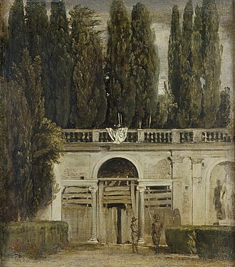 Villa Borghese gardens - Painting by Diego Velázquez