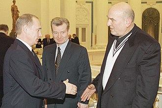 Aleksei Petrenko - Petrenko (right) greeting President Vladimir Putin in 2001