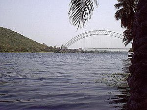 Volta River - The Adome Bridge crosses the Volta river south of the Akosombo Dam.