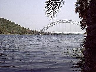 The Volta south of the Akosombo Dam.  Adomi Bridge