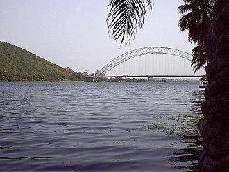 Volta River - The Adome Bridge crosses the Volta river south of the Akosombo Dam.