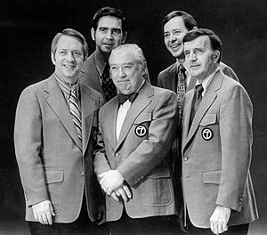 WLS-TV - WLS-TV's main Eyewitness News team, 1972. Back, from left: anchor John Drury, anchor Joel Daly. Front, from left: weatherman John Coleman, anchor Fahey Flynn, sportscaster Bill Frink.