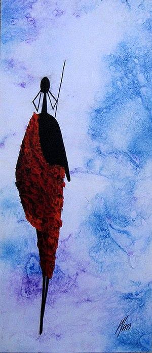 Tingatinga (painting) - Alone in Blue by Moses Wanyuki, 2007
