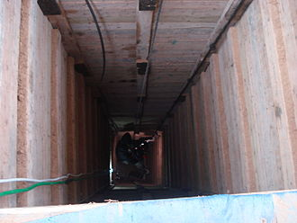 Gaza Strip smuggling tunnels - Entry of a Gaza smuggling tunnel.