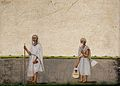 Watercolour of two monks by an Indian artist, 19th century Wellcome V0045566.jpg