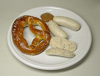 Weisswurst - Traditional Weisswurst meal, served with sweet mustard (senf) and a soft pretzel