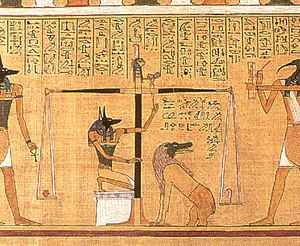 Thoth - This detail scene, from the Papyrus of Hunefer (c. 1275 BCE), shows the scribe Hunefer's heart being weighed on the scale of Maat against the feather of truth, by the jackal-headed Anubis. The ibis-headed Thoth, scribe of the gods, records the result. If his heart equals exactly the weight of the feather, Hunefer is allowed to pass into the afterlife. If not, he is eaten by the waiting chimeric devouring creature Ammit composed of the deadly crocodile, lion, and hippopotamus. Vignettes such as these were a common illustration in Egyptian books of the dead.