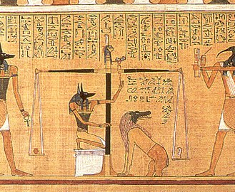 Book of the Dead - This detail scene, from the Papyrus of Hunefer (c. 1275 BCE), shows the scribe Hunefer's heart being weighed on the scale of Maat against the feather of truth, by the jackal-headed Anubis. The ibis-headed Thoth, scribe of the gods, records the result. If his heart equals exactly the weight of the feather, Hunefer is allowed to pass into the afterlife. If not, he is eaten by the waiting chimeric devouring creature Ammit composed of the deadly crocodile, lion, and hippopotamus. Vignettes such as these were a common illustration in Egyptian books of the dead.