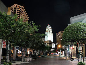 Little Tokyo, Los Angeles - Astronaut Ellison S. Onizuka Street with Weller Court, Challenger Memorial and Los Angeles City Hall in background.