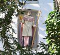 Werl, Denkmalgechützte Propstei, Kirchplatz 4, Heiligenfigur in einer Nische über dem Eingang.JPG