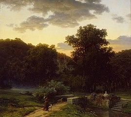 Linnanpuisto auringonlaskun jälkeen