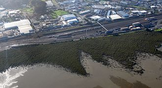 Westfield, New Zealand - A look over the still mostly industrialised Westfield area, with the Railway yards in the front.