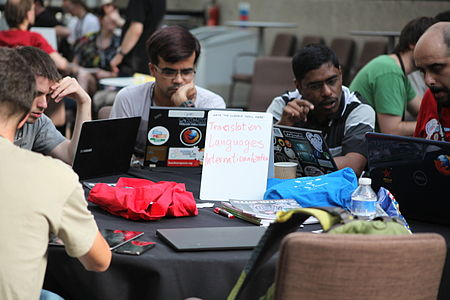 Wikimania 2014 - Day 1 - Hackathon participants 11.JPG