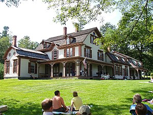 William Cullen Bryant Homestead - A string quartet plays on the homestead's porch