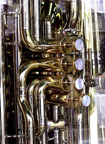 Details of a wind instrument.