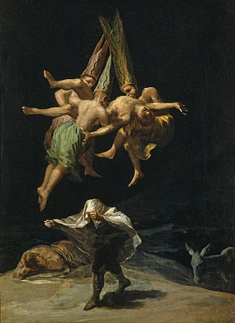 Witches' Sabbath (Goya, 1798) - Witches' Flight, 1797-98. 43.5cm x 30.5cm, Museo del Prado, Madrid.  This is another of the set of six owned by the Duchess of Osuna.