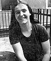 Woman, portrait, terrace, fun, smile, youth Fortepan 8398.jpg