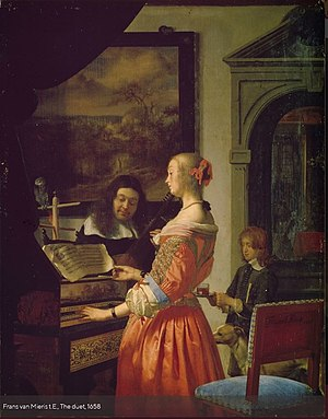 Frans van Mieris the Elder - Duet by Frans van Mieris sr. (1658) Oil on wood, 31,7 x 24,7 cm. Staatliches Museum, Schwerin