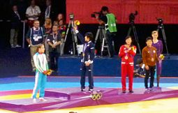 Women's 48kg Victory Ceremony London 2012.jpg