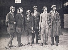 Women pilots who escorted the landing of Amy Johnson in Sydney on 4 June 1930, at the end of the first England to Australia flight by a woman. Photo presented to the National Library of Australia by Miss Meg Skelton (on left).