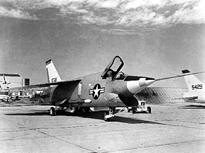 Vought XF8U-3 Crusader III - A view of the XF8U-3's chin inlet shows it to be drastically different from its predecessor, the Vought F-8 Crusader