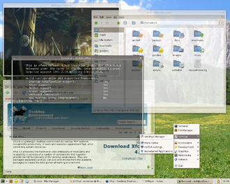 Xfce - A typical Xfce 4.4 desktop. Various Xfwm effects are visible (drop shadows behind windows, alpha-blended windows and panel).