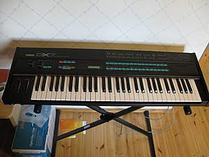 Yamaha DX7 - A DX7 on a keyboard stand.