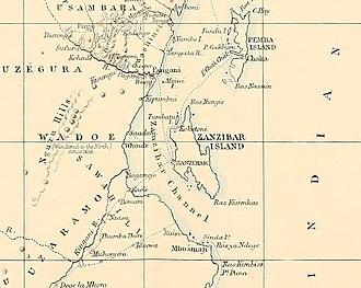 Zanzibar Channel - The Zanzibar Channel in an 1872 map