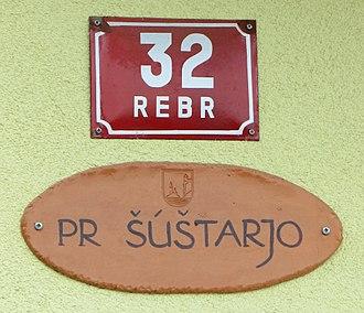Oeconym - A street address and oeconym (in dialect) in Zasip, Slovenia