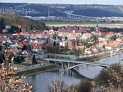 Zbraslav from the right bank of the Vltava