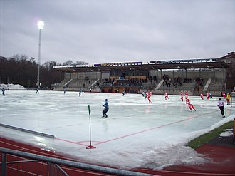 Djurgårdens IF Bandy - Djurgårdens IF (in blue) meets Gustavsbergs IF at Zinkensdamms IP.