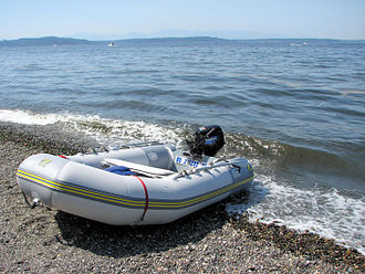 Inflatable boat - A PVC inflatable boat on a beach