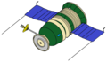 A color drawing of a Zond L1 spacecraft, the same type as Kosmos 154.