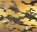 'Genji Monogatari' (Tale of Genji), ink and color on gold paper mounted as a two-panel screen attributed to Tosa Mitsuyoshi.jpg