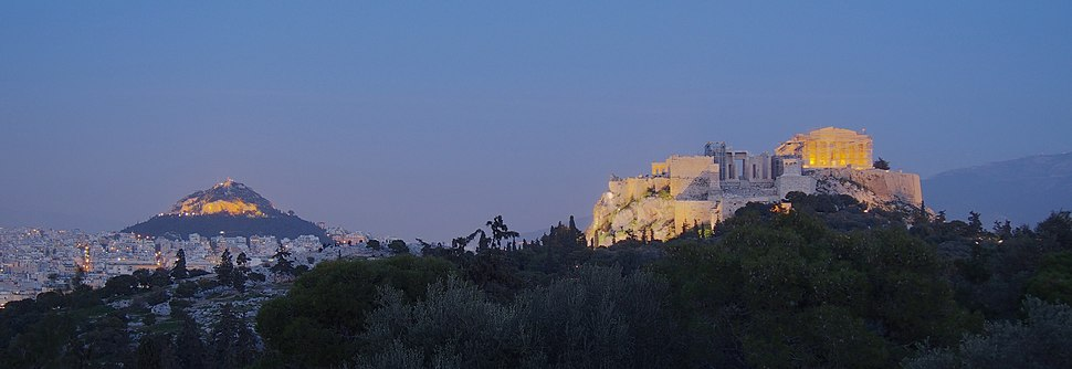 Panoramic view of the Acropolis ad Lycabettus Hill from Philopappos Hill.