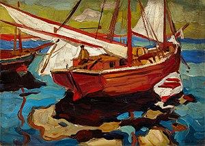 Герасим Семенович Головков - Рыбацкие лодки в гавани.jpg