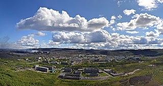 Urban-type settlement in Murmansk Oblast, Russia