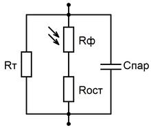 Идеализированная эквивалентная схема фоторезистора.
