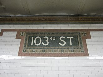 103rd Street (IRT Broadway–Seventh Avenue Line) - Mosaic name tablet